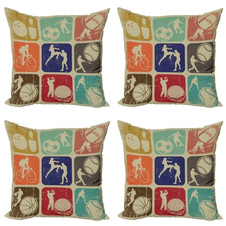 Image of Sports Throw Pillow Cushion Case Pack of 4, Assorted Sports Banners Vintage Grunge Effect Tennis Soccer Bowling Sports Pub Theme, Modern Accent Double-Sided Print, 4 Sizes, Multicolor, by Ambesonne