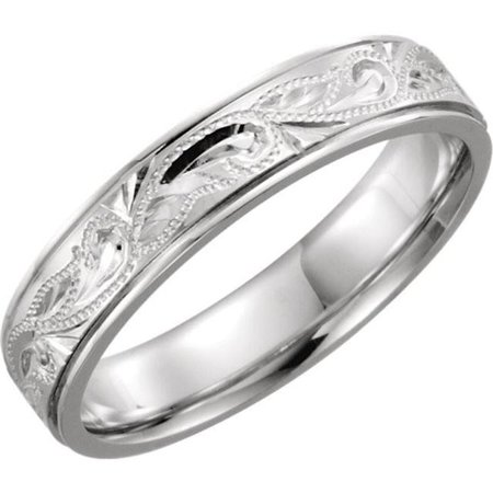 Harry Chad Enterprises HC12261 5 mm Hand-Engraved Spinner Band - 14K White Gold - Size 7 - image 1 of 1