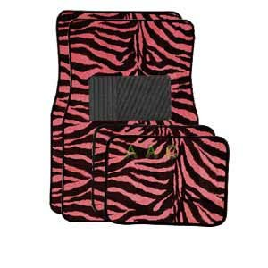 A Set of 4 Universal Fit Animal Print Carpet Floor Mats for Cars   Truck Pink Zebra by LavoHome