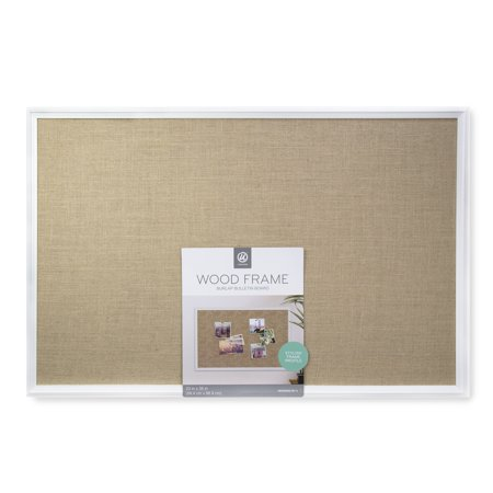U Brands Cork Bulletin Burlap Board, 36 x 24 Inches, White Decor Frame