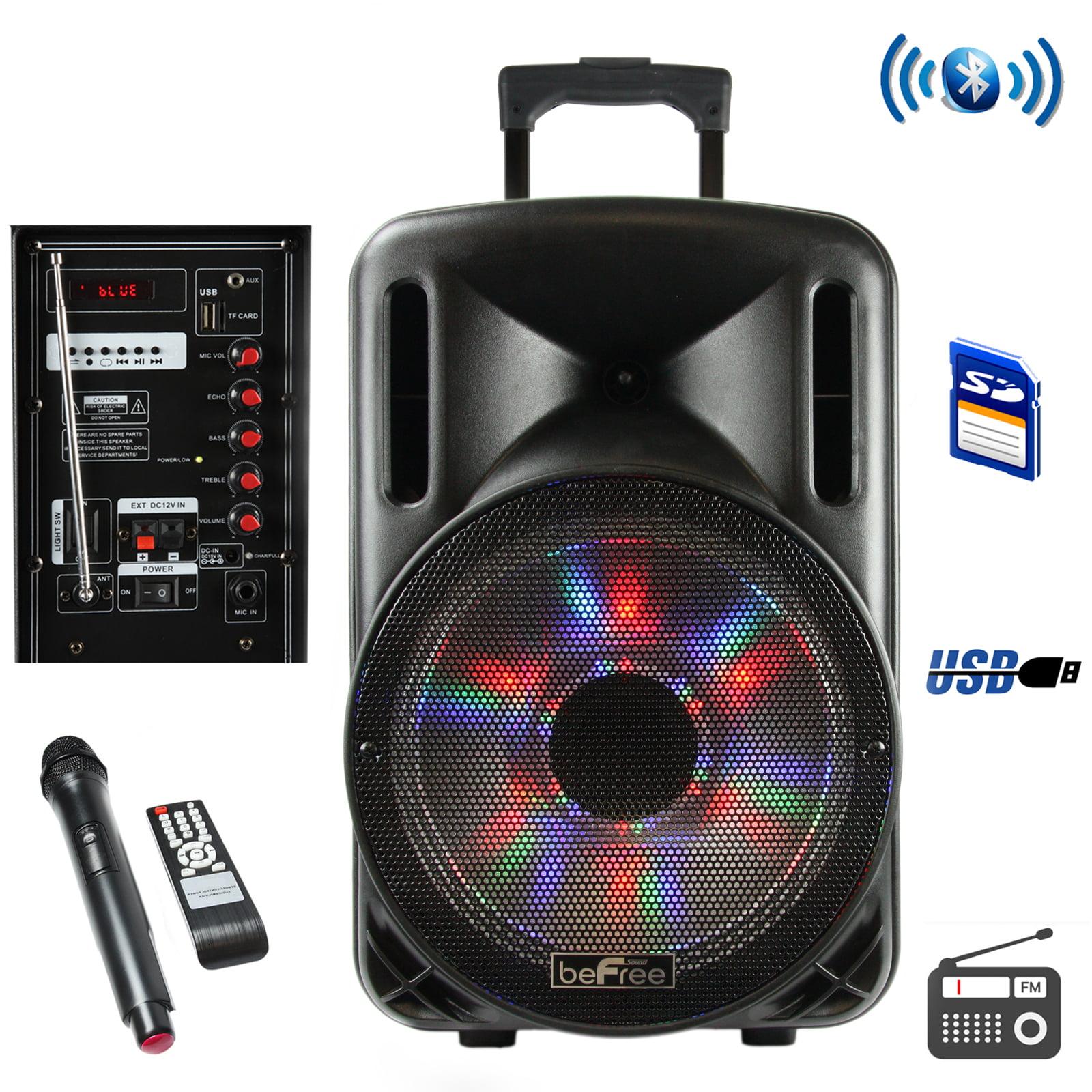 "Party Pa Dj Speaker System 2500W Karaoke Machine 12"" Portable Bluetooth Lights"