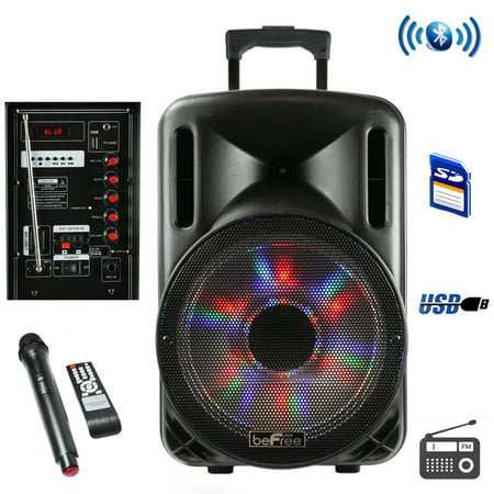 beFree Sound 12 Inch Woofer Portable Bluetooth Powered PA Tailgate Party Rechargeable Speaker With Illuminating