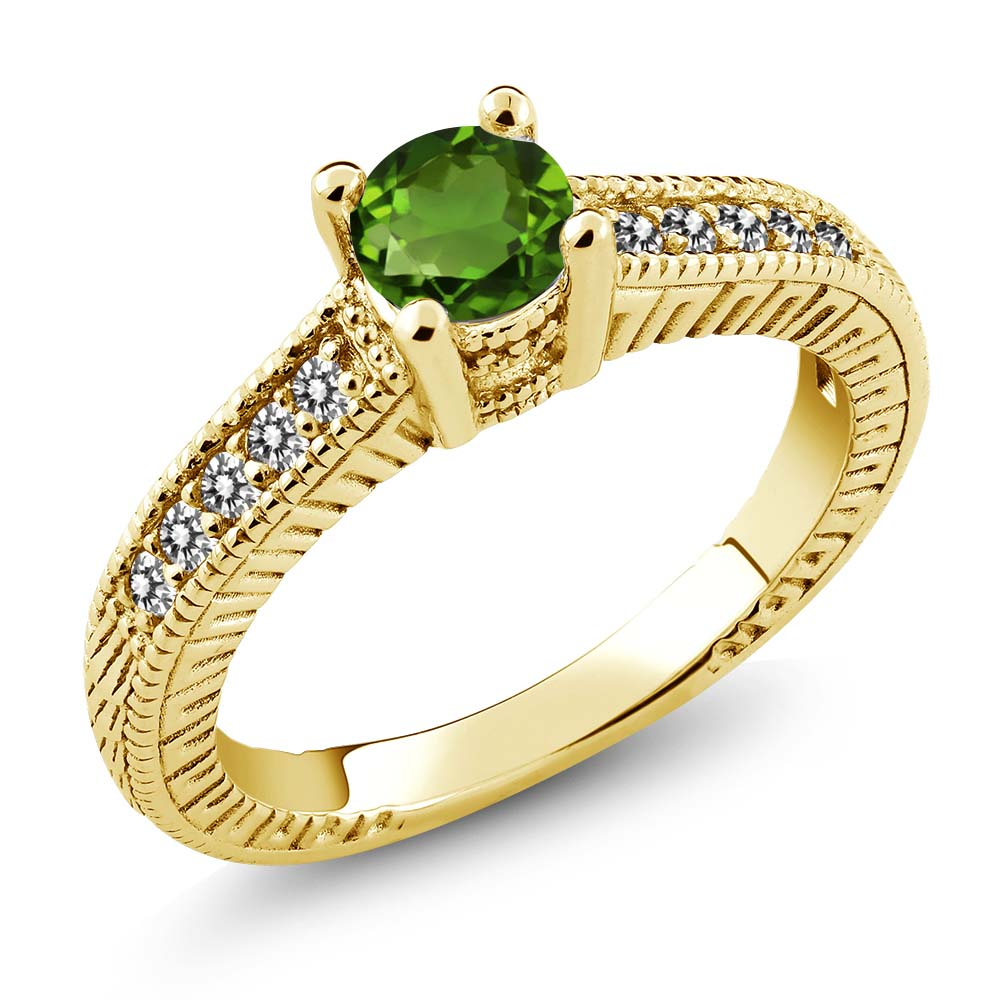 0.67 Ct Green Chrome Diopside White Diamond 925 Yellow Gold Plated Silver Ring