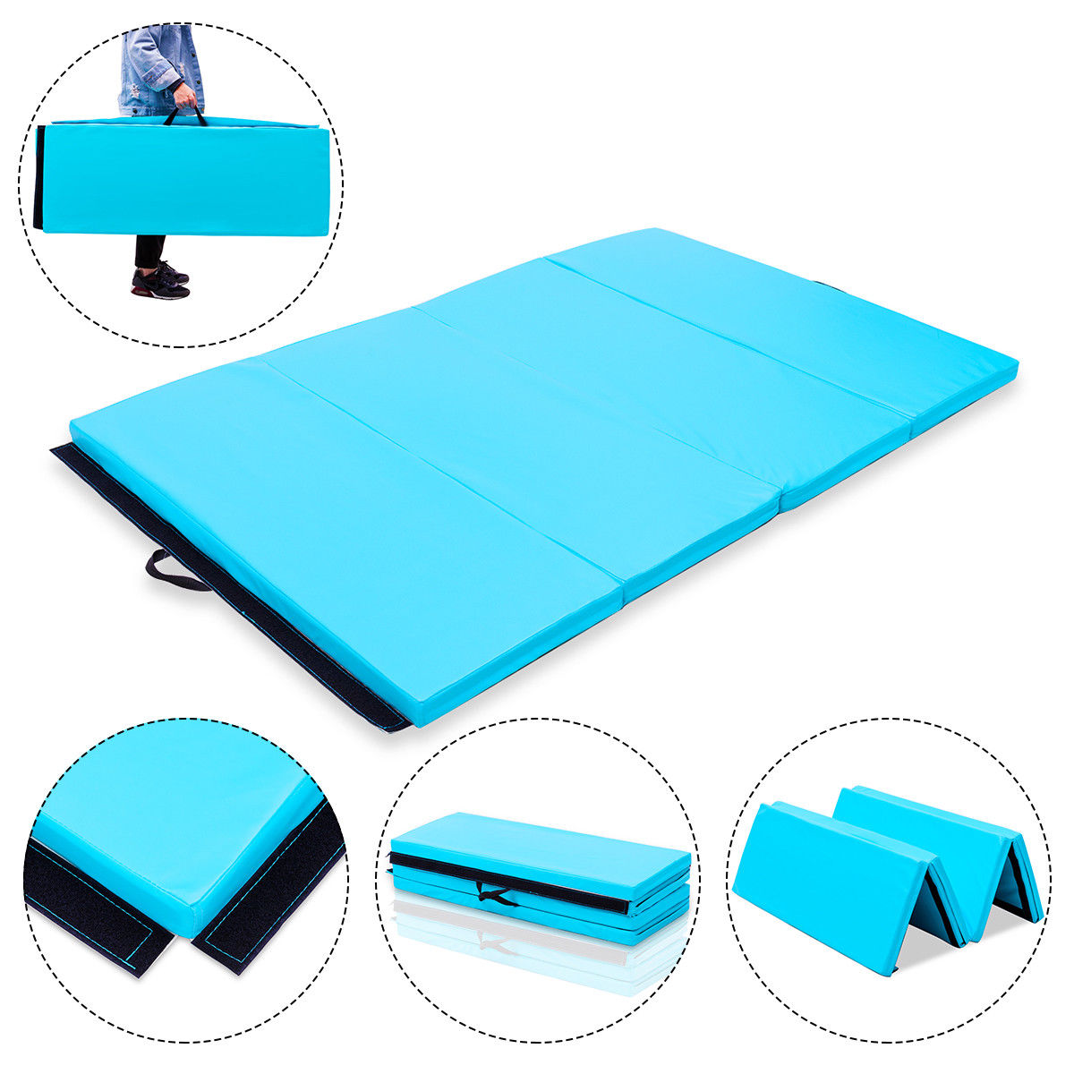 Costway 4'x6'x2'' Gymnastics Mat PU Thick Folding Panel Gym Fitness Exercise Blue