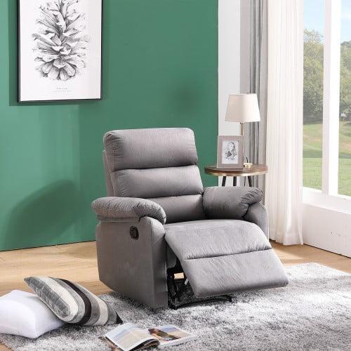 overstuffed fabric recliner chair  heavy duty manual