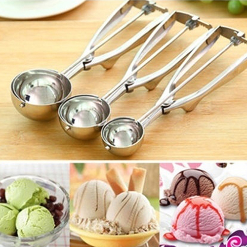 Girl12Queen Stainless Steel Spring Handle Ice Cream Potato Cookie Watermelon Scoop Spoon