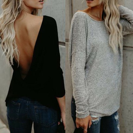 Womens Sexy V Open Back Backless Blouse Tops Long Sleeve Loose Casual Shirt Open Back Short