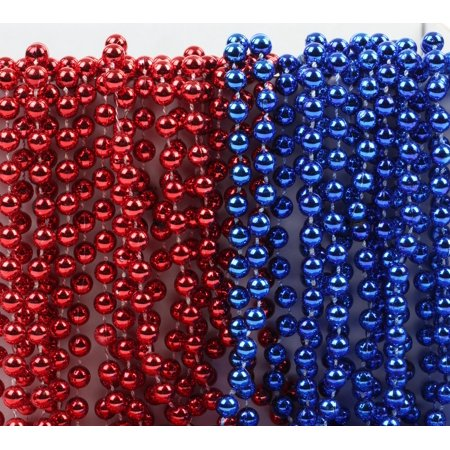 Mardi Gras Plastic Bead Necklaces Duo for July 4th Superhero Birthday Party Favors, Red and Royal Blue, 24-Pack (4th Of July Party Favors)
