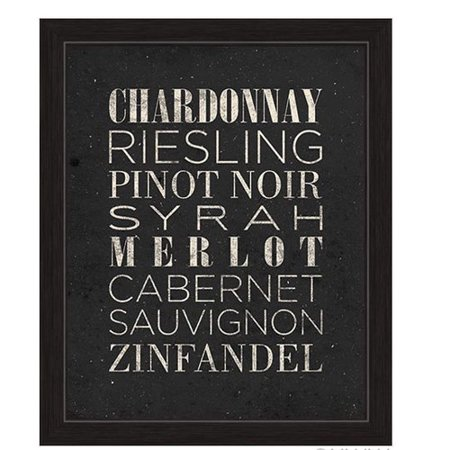 Merlot White Zinfandel Wine - Click Wall Art List Of Wine Framed Textual Art in Black and White