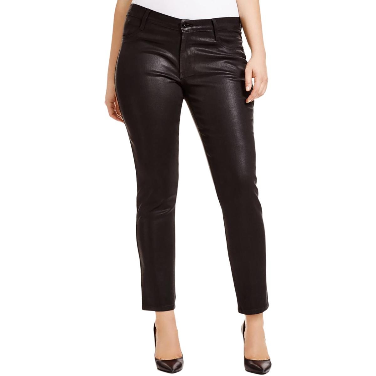 James Jeans Womens Plus Coated Shimmer Slim Jeans