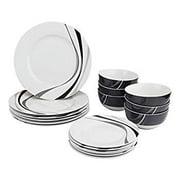 18-Piece Kitchen Dinnerware Set, Plates, Dishes, Bowls, Service for 6, Swirl