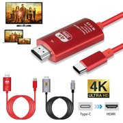 Type-C to HDMI Cable Adapter Cable, TSV 6.6ft/2m 4K HD USB Type-C Device to HDMI-enabled TV/Monitor/Projector Cable Cord for Mirror Mode and Extended Mode, Plug & Play (Black/Red)