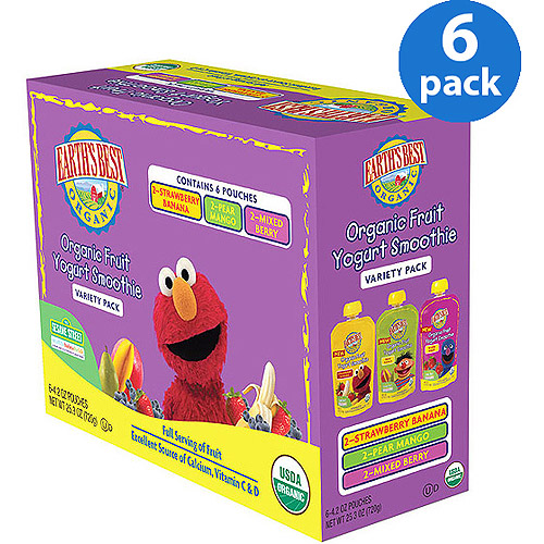 Earth's Best Organic Sesame Street Organic Fruit Yogurt Smoothie Variety Pack, 4.2 oz (Pack of 6)