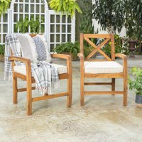 2-Set Manor Park X-Back Outdoor Patio Chairs with Cushions (Brown)