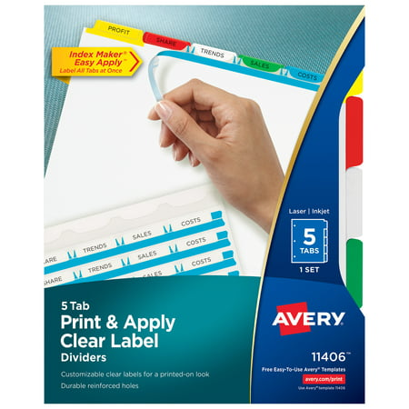 Avery Print & Apply Clear Label Dividers, Index Maker Easy Apply Printable Label Strip, 5 Multicolor Tabs (11406)