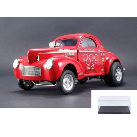 Diecast Car & Display Case Package - 1941 SS Gasser, Red - ACME 1800908 - 1/18 Scale Limited Edition Diecast Model Replica w/Display