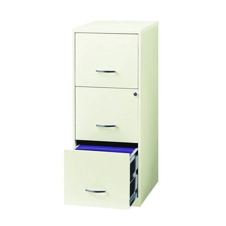 """Space Solutions 3 Drawer Metal File Cabinet with lock, 18"""" Deep For Office Storage - White"""
