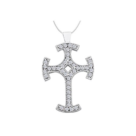 14K White Gold Cross Milgrain Diamond Pendant with 0.80 Carat Diamonds - image 1 de 2
