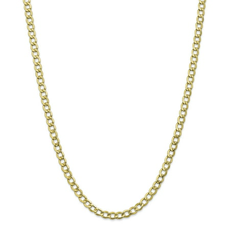 10K Yellow Gold 5 25mm Semi Solid Curb Link Chain 24 IN