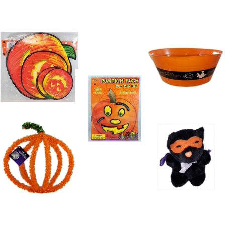 Halloween Fun Gift Bundle [5 Piece] - Classic Pumpkin Cutouts Set of 9 - 17.75 Inch Orange