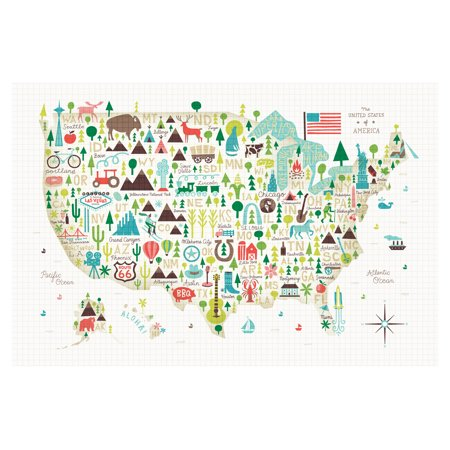 Beautiful City and State Icon Map of The United States by Michael Mullan; One 18x12in Unframed Paper Poster - Map Of Party City