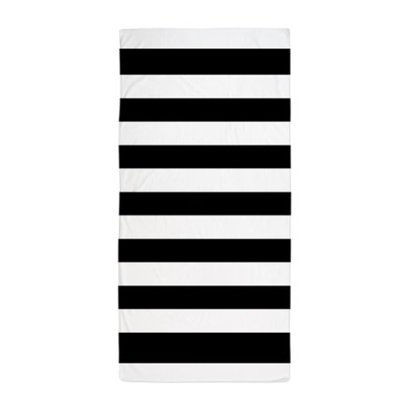 """CafePress - Black And White Stripe - Large Beach Towel, Soft 30""""x60"""" Towel with Unique Design"""