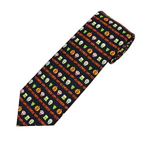 Mens Extra Long Colorful Happy Halloween Icons Tie