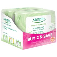 Simple Kind to Skin Cleansing Facial Cleansing Wipes 25 Wipes, 2 Count