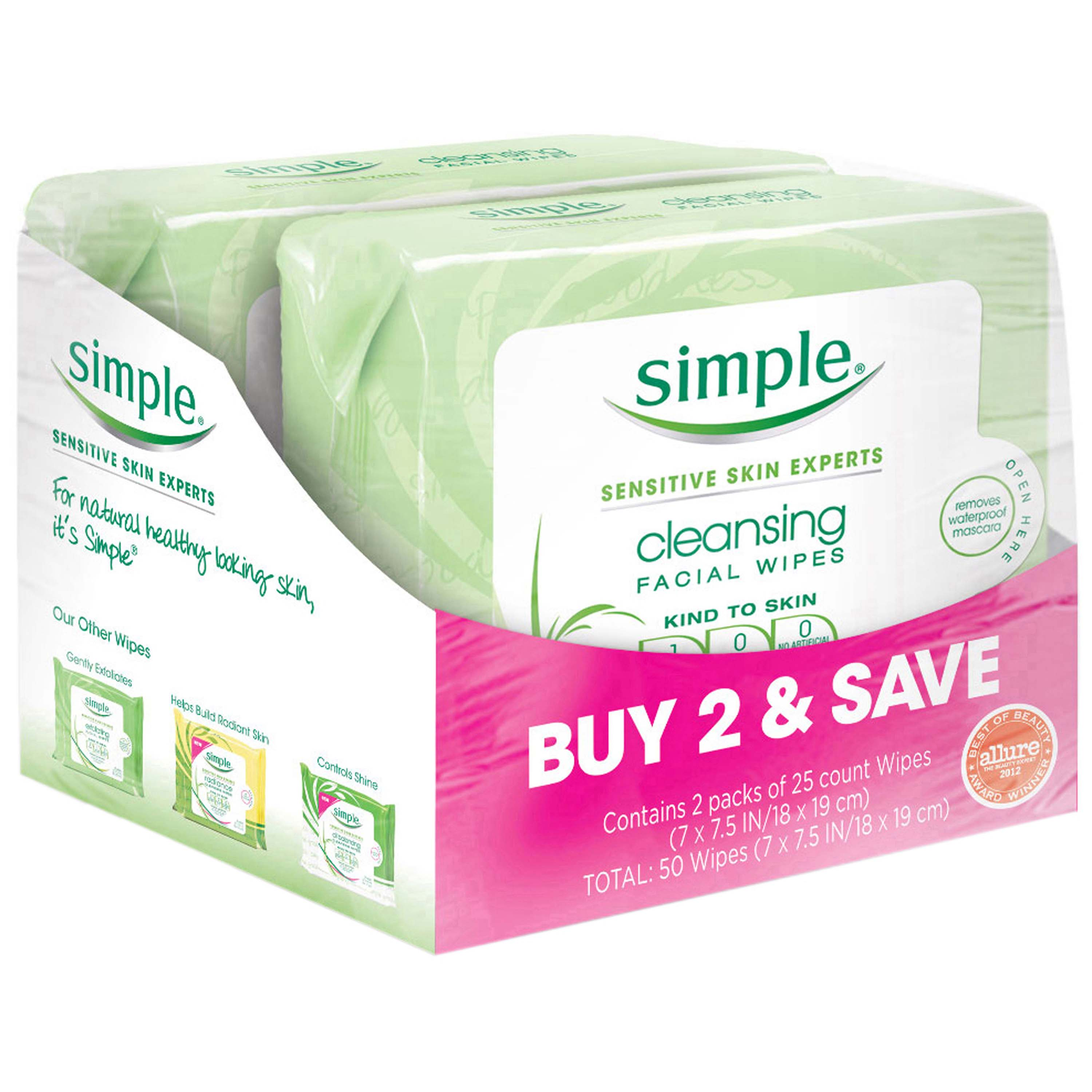 Simple for Sensitive Skin Face Cleansing Wipes, 25 ct, Twin Pack
