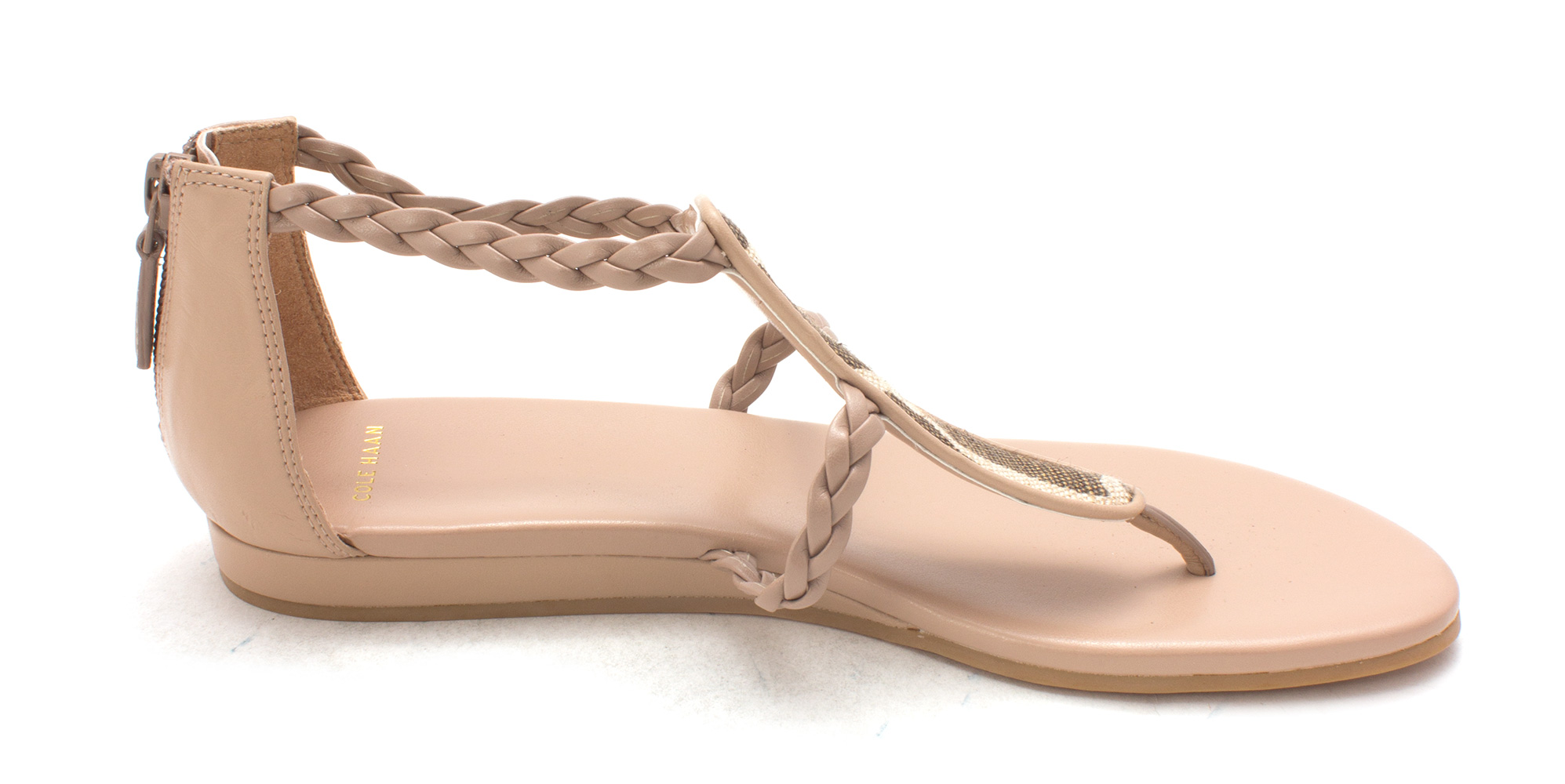 Cole Haan Womens Paulasam Open Toe Casual T-Strap Sandals, Nude, Size 6.0