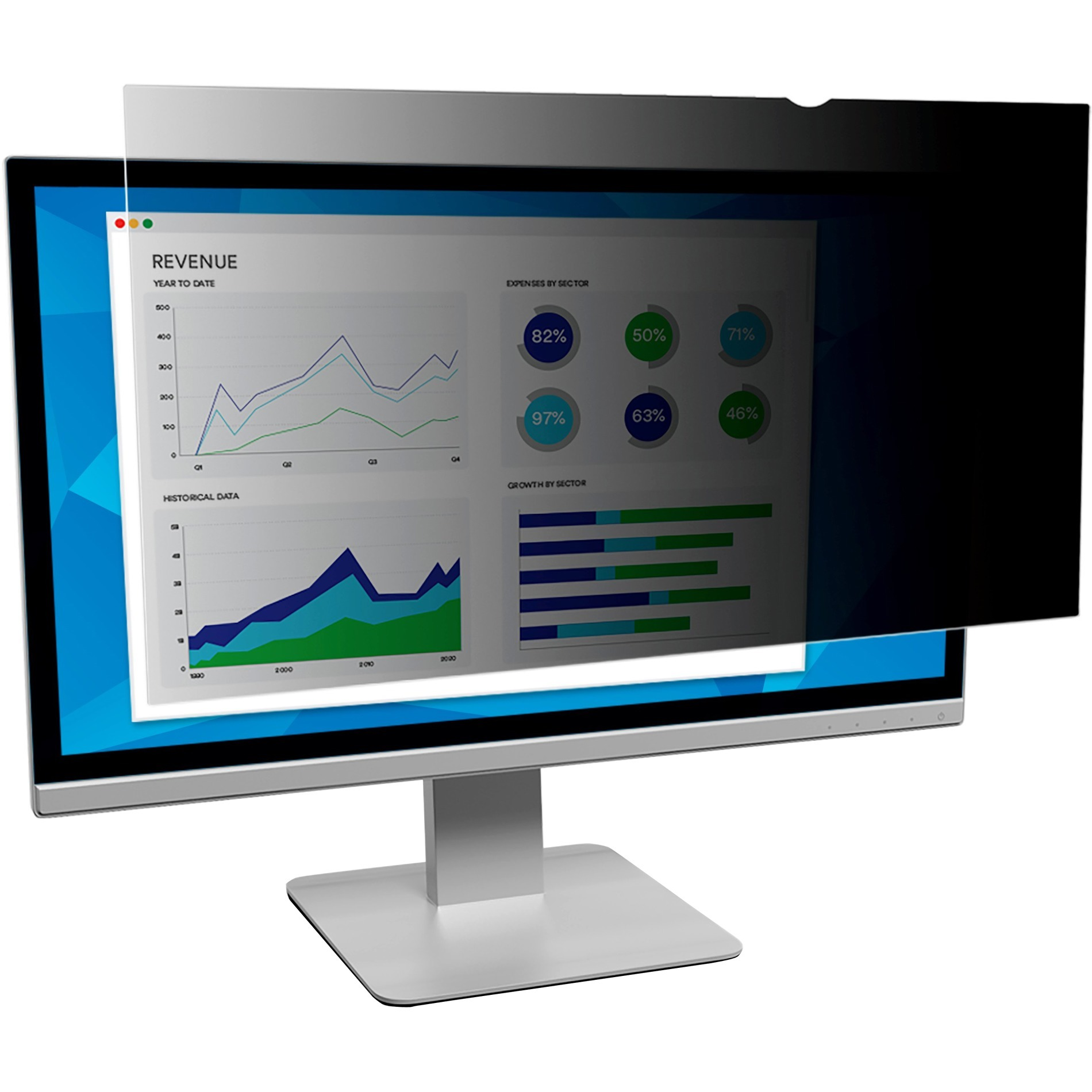 "3M, MMMPF200W9B, Privacy Filter for 20"" Widescreen Monitor (PF200W9B), Black,Matte,Glossy"