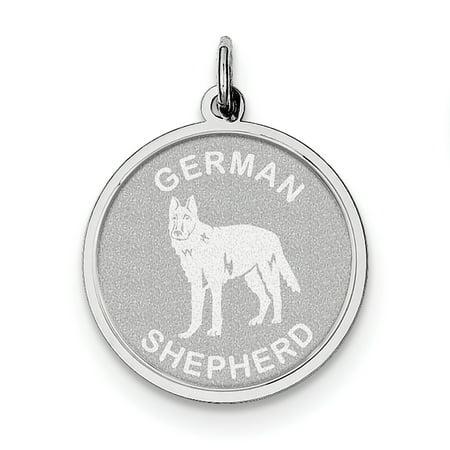 Sterling Silver Rhodium-plated German Shepherd Disc Charm QC2686 Shepherd Sterling Silver Charm