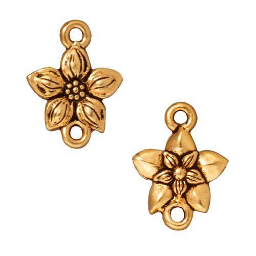 22k Gold Plated Pewter Star Jasmine Flower Connector Links 16mm (2)