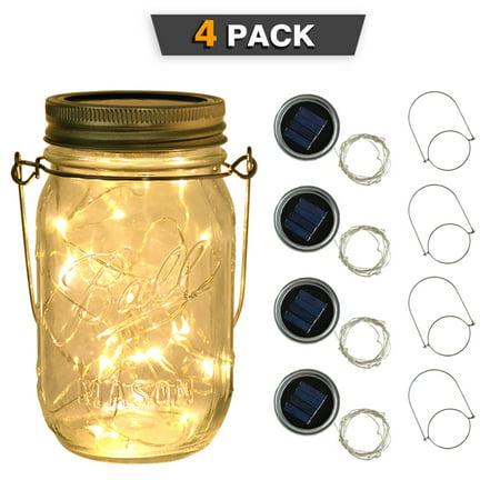 Solar Mason Jar Lights Lids,iClover Upgraded 20 LEDs Hanging String Lids Lights (No Jar), 4 Pack Waterproof  Warm White Fairy Lighting, Outdoor Patio Garden Deck String Lantern for Regular Jars