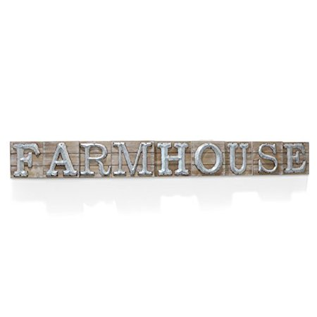 Sign Bracket Store (Barnyard Designs Large Vintage Wooden Farmhouse Sign with Galvanized Metal Lettering | Primitive Country Home Decor, Built in Brackets for Hanging, 59.75