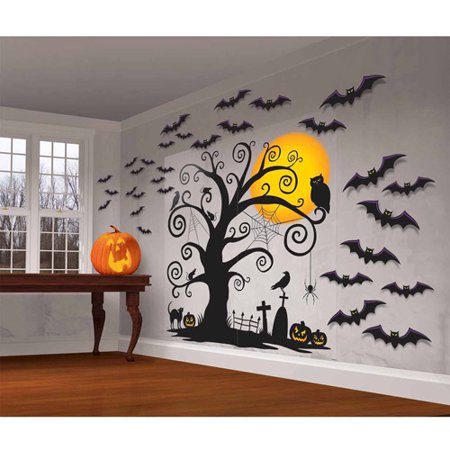 "32"" x 65"" Family Friendly Halloween Wall Scene Setter, 32-Piece"