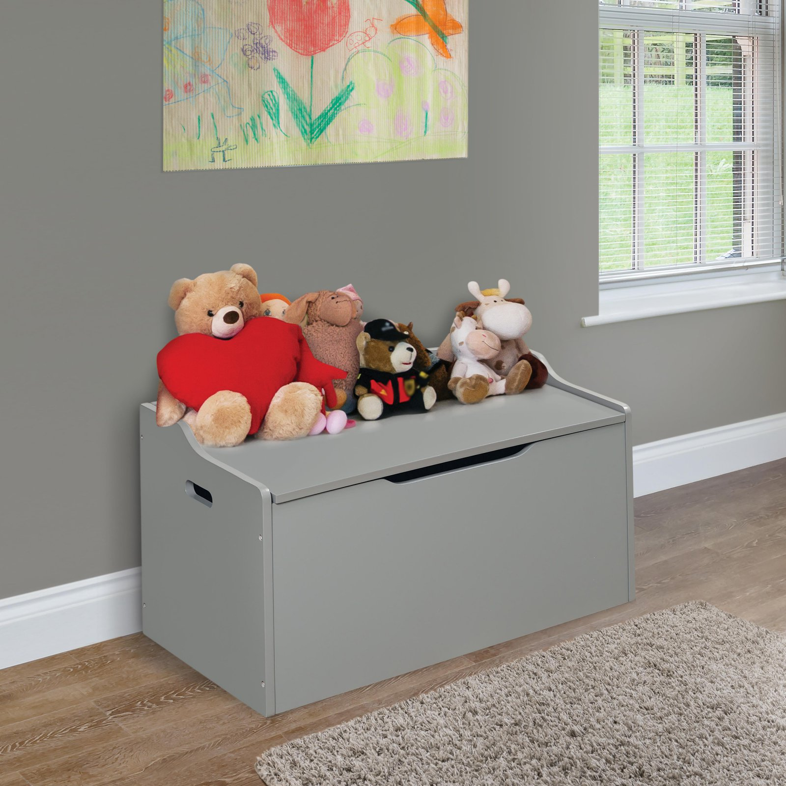 Lift Top Bench Seat Toy Box with Safety Hinge, Gray by Badger Basket Company