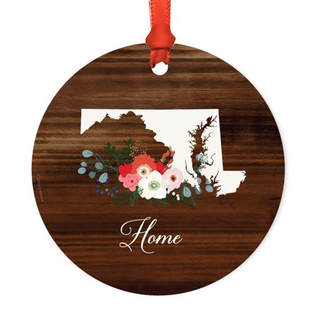 Us State Round Metal Christmas Ornament  Rustic Wood With Florals Home  Maryland  Includes Ribbon And Gift Bag