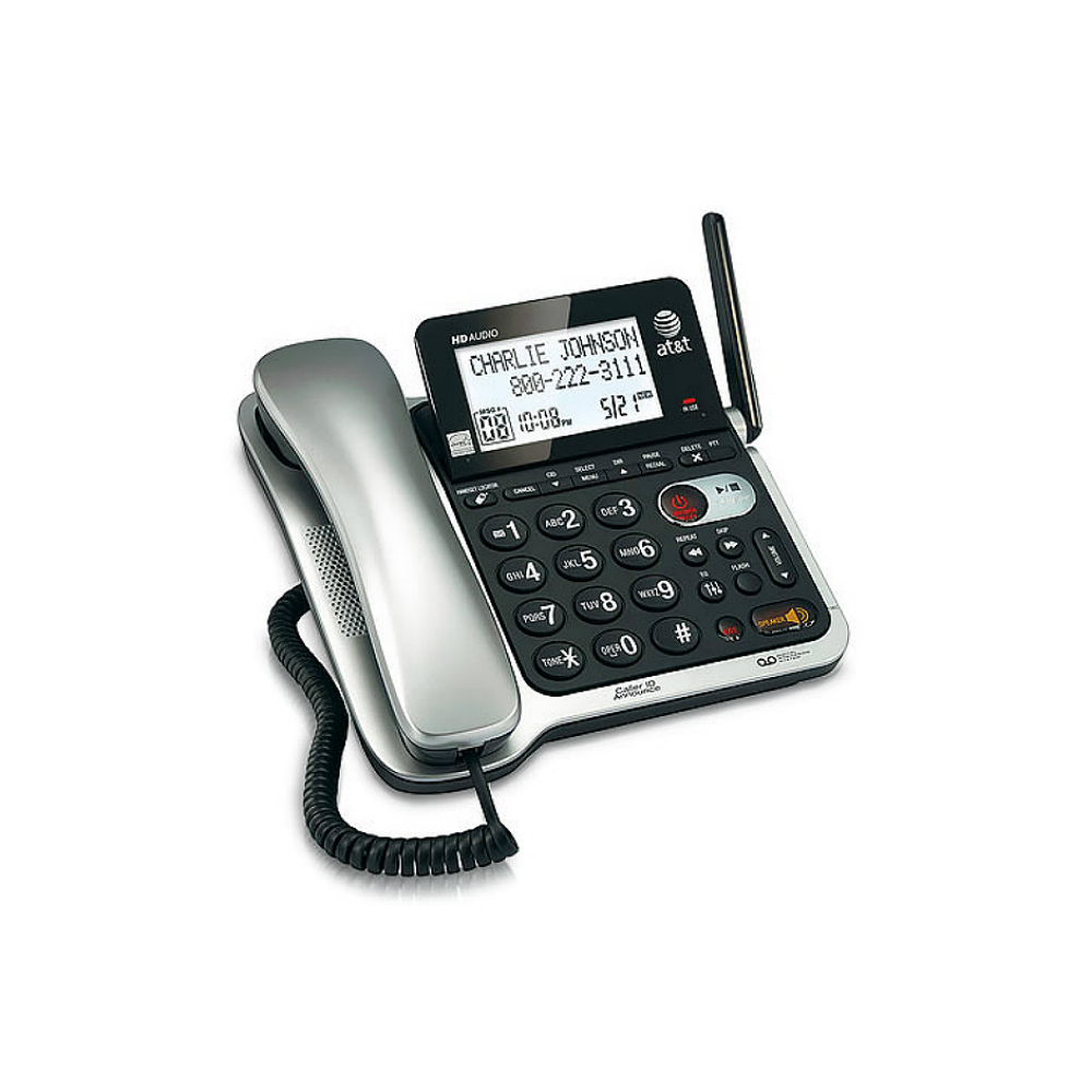 AT/&T CL84102 DECT 6.0 Corded//Cordless Phone with Answering System Caller ID