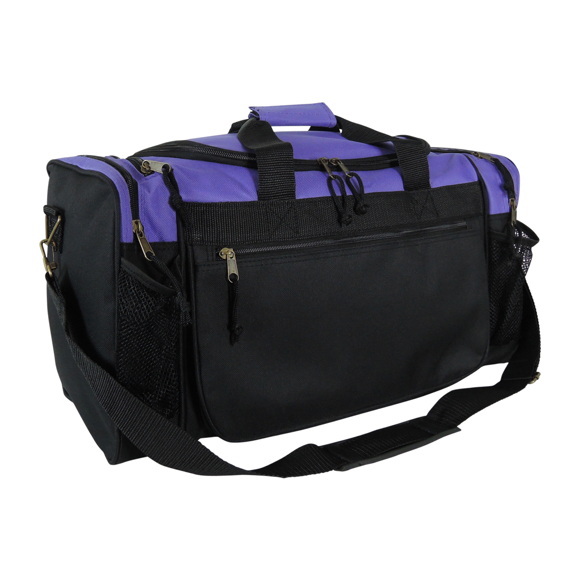 "DALIX 20"" Sports Duffle Bag w Water Bottle Mesh and Valuables Pockets in Black"