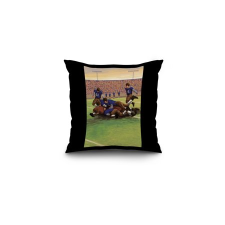 Dogpile Football Scene - Lantern Press Original Poster (16x16 Spun Polyester Pillow, Black Border)