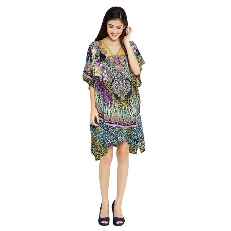 Purple Short Caftans for Women Leopard Print Plus Size Tunic Dress for Women's Plus Size Kaftan Knee Length Free Size Short Women Tunics Online by Oussum