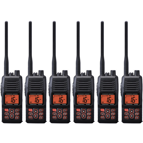 Standard Horizon HX400IS Handheld VHF 40 Channels DSC Noise Canceling Mic IPX8 WaterRating (6 Pack) by Standard Horizon