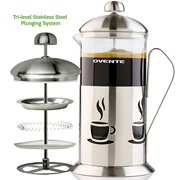 Ovente French Press Coffee 34 Ounce with Heat Resistant Borosilicate Glass, Triple Filter Stainless Steel Plunging System with Mesh Filter and Free Measuring Scoop Included, Silver (FSC34S)