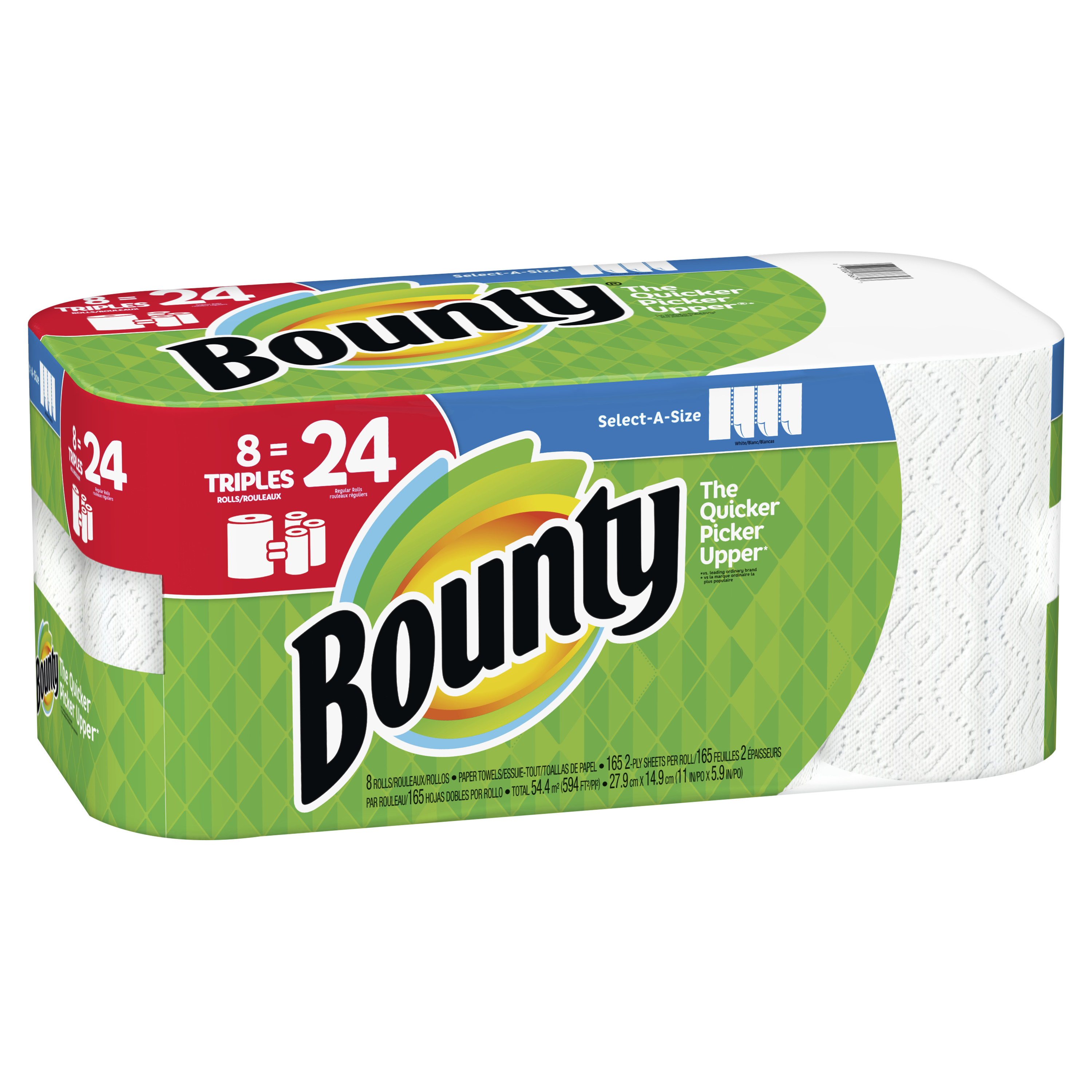 bounty select a size paper towels white 8 triples 24 regular