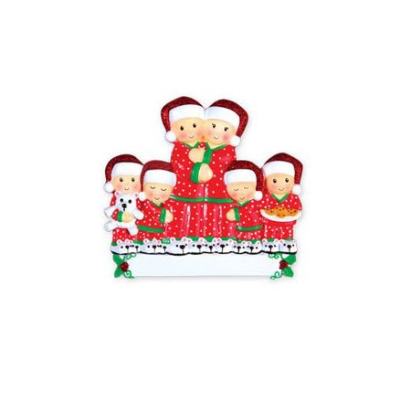Pajama Family of 6 Personalized Christmas Ornament DO-IT-YOURSELF