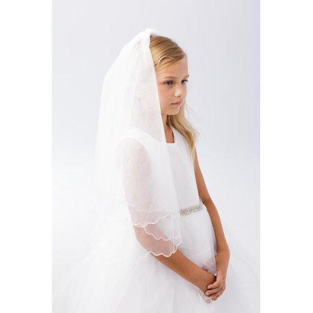 Girls White Scalloped Chord Edging Double Layer Communion Flower Girl Veil