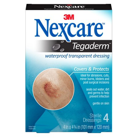 Nexcare Tegaderm Waterproof Transparent Dressing, 4 in x 4 3/4 in, 4 ct.