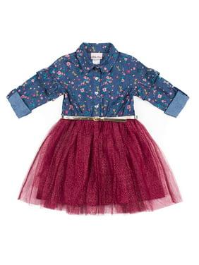 164383e2f Product Image Little Lass 3/4 Ruffle Sleeve Denim Combo Tutu Dress With  Belt (Little Girls