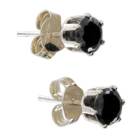 Black Cz Cubic Zirconia Sterling Silver Stud Earrings Clam Shell Gift Box .70 Ct Tw Black Stud Earring Box